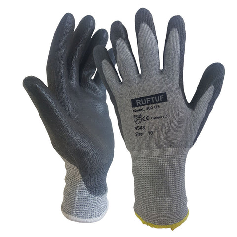 Premium Cut 5 Grey Black Nylon PU Coated Cut Resistant Work Glove - RUFTUF
