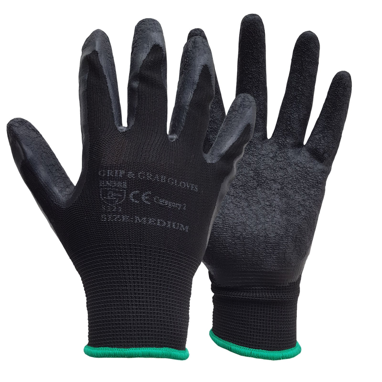 240 Pairs Black HQ Latex Coated Nylon Work Gloves - RUFTUF