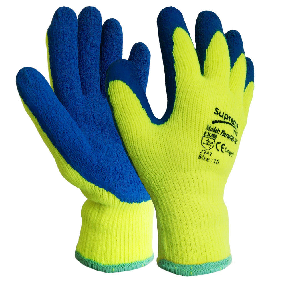 Yellow 10 Gauge Latex Coated Rubber Winter Thermal Glove - RUFTUF
