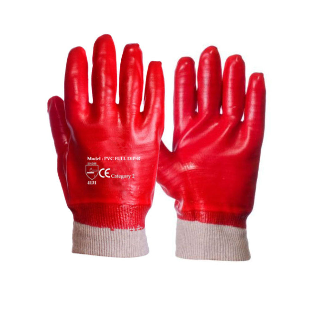 Red PVC Coated Knit Wrist Rubber Work Glove - RUFTUF