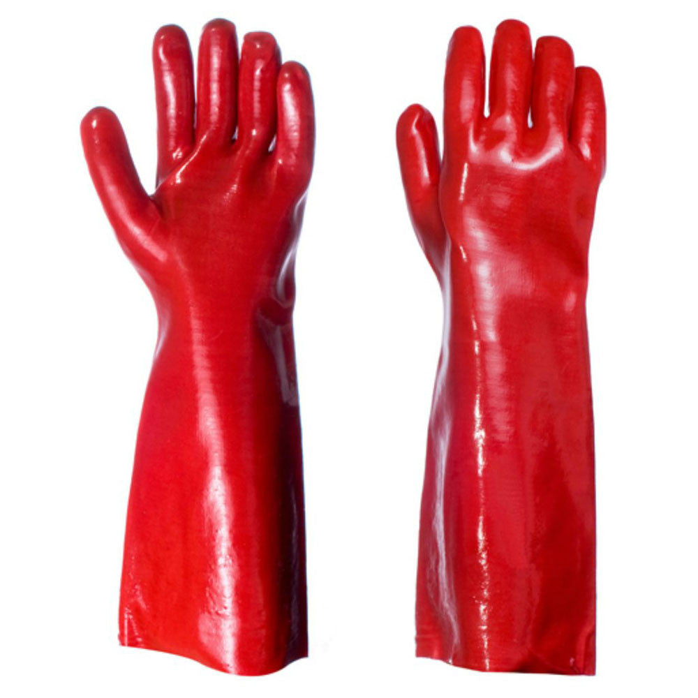 "Red PVC Coated Long Arm Heavy Duty Chemical 14"" Gauntlet - RUFTUF"