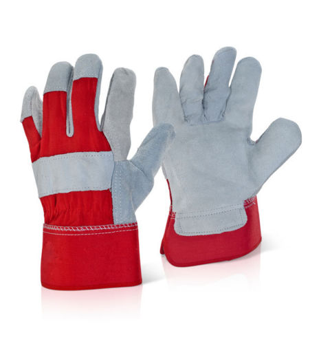 100 Pair Canadian Leather Rigger Work Gloves - Red - RUFTUF