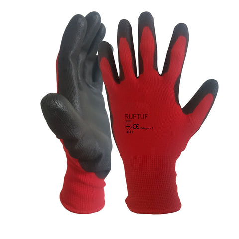 CUT 1 Protection Red Liner Black PU Coated Work Glove - RUFTUF