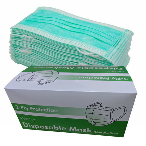 50 x Safety Masks 3ply Surgical Medical Face Mask Respirator Dust Mask (Box of 50)