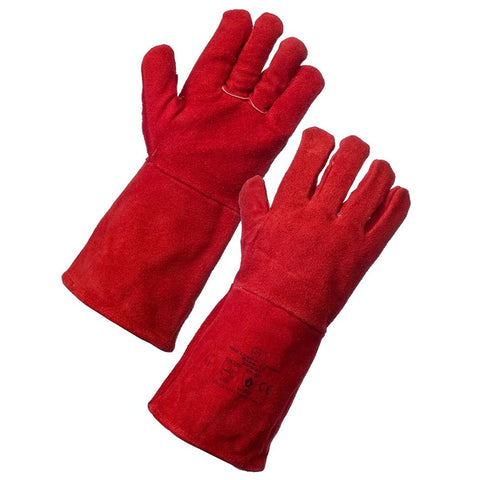 Red Long Lined Welding Glove Ideal for High Temperature Welders Glove - RUFTUF