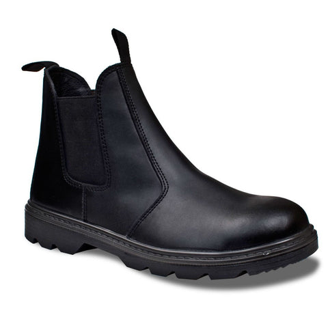 Supertouch Black Leather Dealer Boot With Steel Toe Cap - RUFTUF