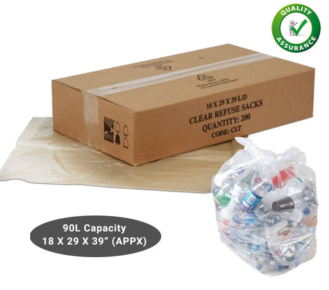 Clear Refuse Sacks Bin Bags Rubbish Scrap / Waste Recycling