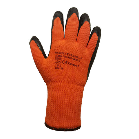 Orange 7 Gauge Latex Coated Rubber Winter Thermal Glove - RUFTUF