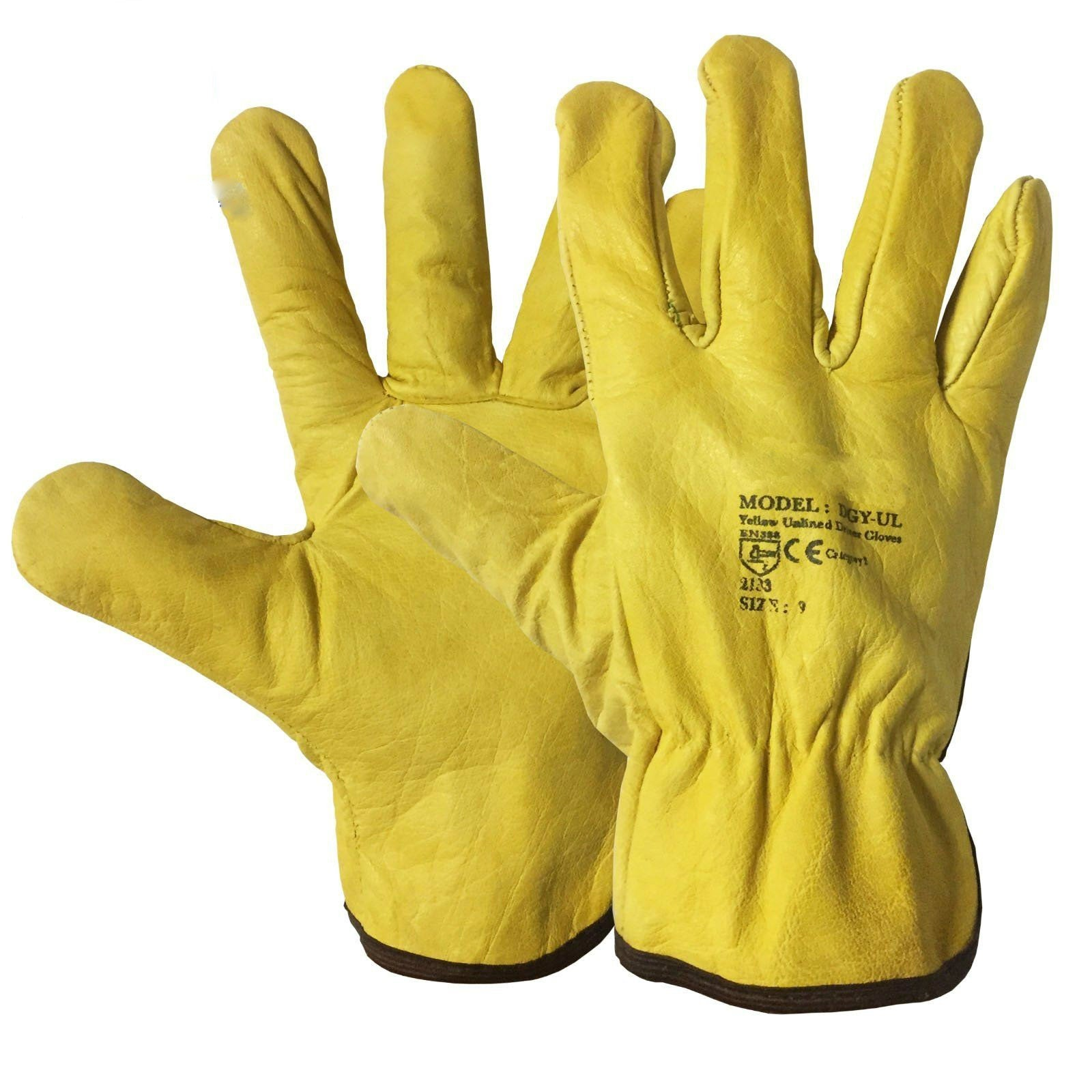 100 Pairs Unlined Yellow Leather Cotton Driver Work Glove - RUFTUF