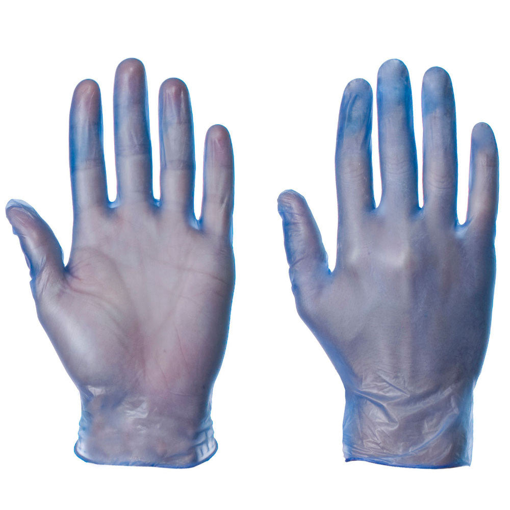 Vinyl Powdered Blue Color Disposable Gloves - 50 Pairs per Box - RUFTUF