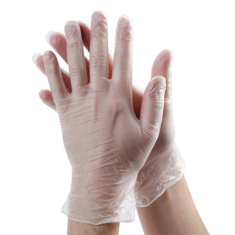 Vinyl Powdered Clear Disposable Gloves - 50 Pairs per Box - RUFTUF
