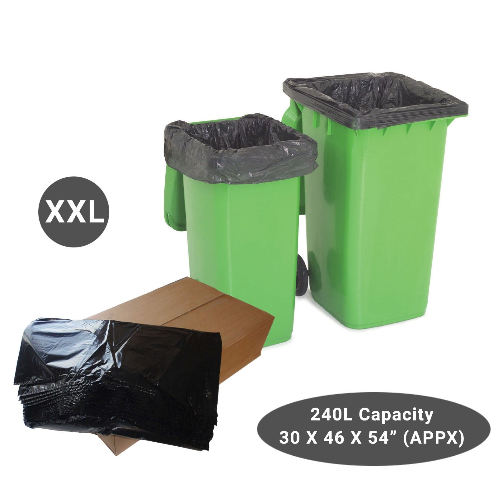 Black Wheelie Refuse Sacks Strong 240L Bin Liners
