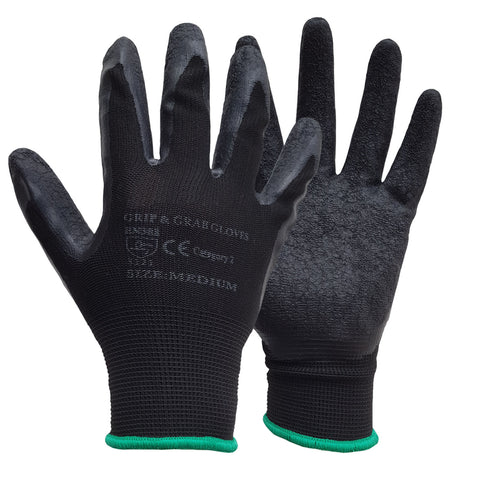 Blue Black Latex Coated Grip and Grab Safety Work Glove