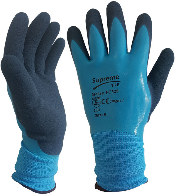 Blue Aqua Waterproof Fully Latex Coated Nylon Safety Work Glove - RUFTUF