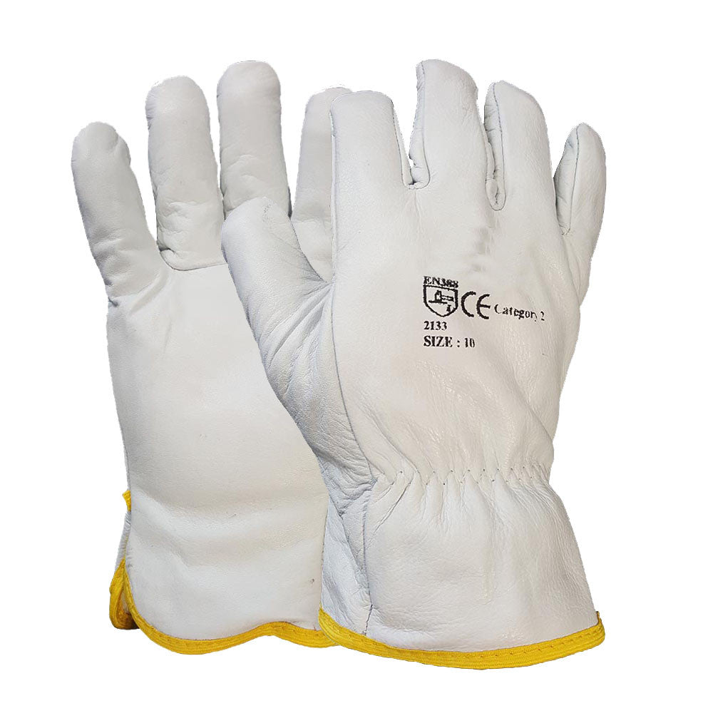 White Driver Glove Fleece Cotton Lined Leather Work Glove
