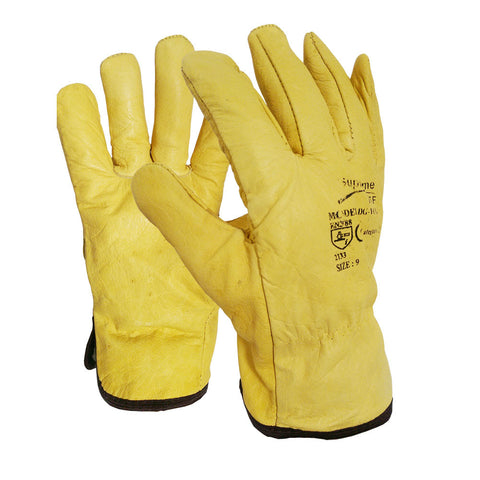 100 Pairs Fleece Cotton Lined Yellow Leather Driver Work Glove - RUFTUF