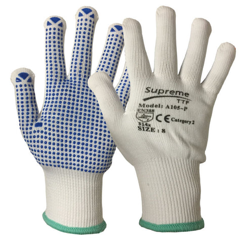100 Pairs Picker Packer Polka Nylon Work Gloves - RUFTUF