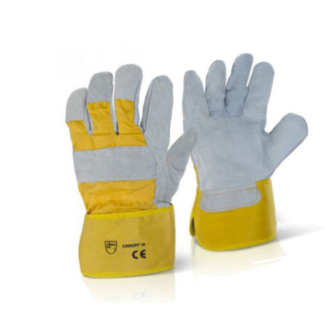 100 Pair Canadian Leather Rigger Work Gloves - Yellow - RUFTUF