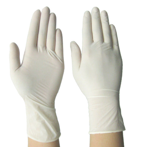 Latex Powdered White Disposable Gloves - 50 Pairs per Box - RUFTUF