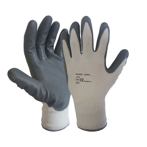 White Grey Nitrile Coated Nylon or Polyster Liner Work Glove - RUFTUF