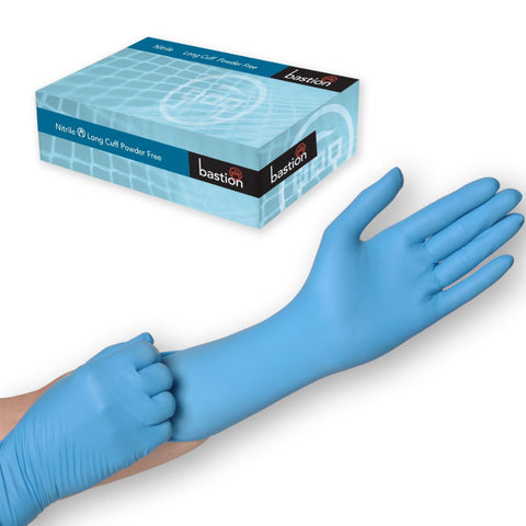 Blue Nitrile Long Cuff Powder Free Disposable Gloves - 50 Pairs per Box - RUFTUF