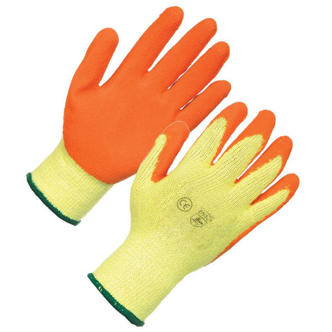 Yellow Cotton Liner Orange Latex Coated Rubber Work Glove - RUFTUF