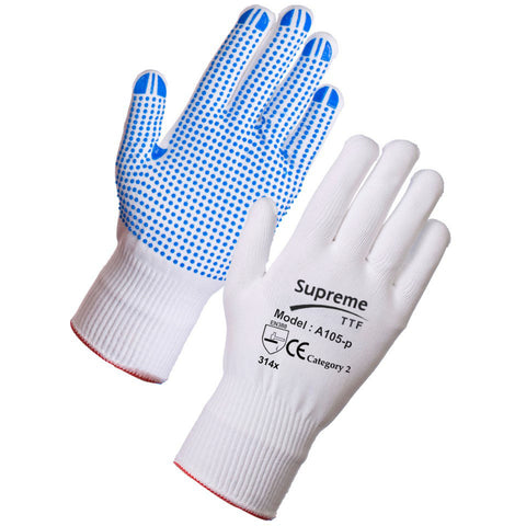 Polka Dot Glove Seamless knitted nylon liner with PVC dotted palm and fingers - RUFTUF