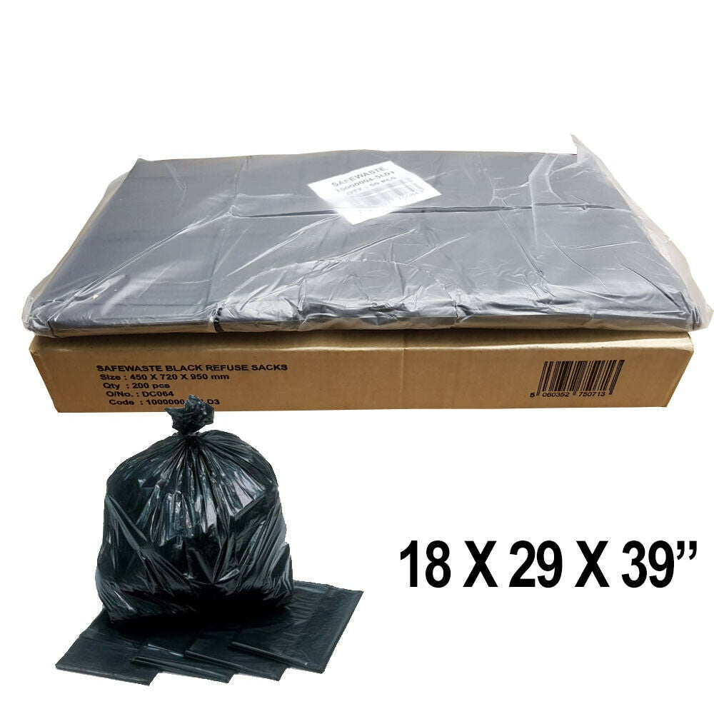 BLACK BIN LINERS RUBBISH BAGS REFUSE SACKS