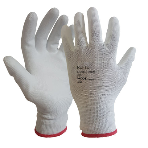 White PU Coated Nylon or Polyster Liner Work Glove - RUFTUF