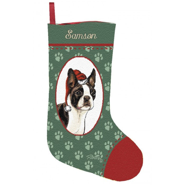 Personalized boston terrier christmas stockings for Personalized dog christmas stocking
