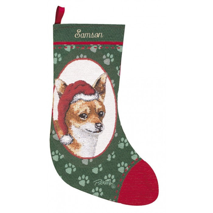 Chihuahua christmas stockings personalized for dogs for Personalized dog christmas stocking