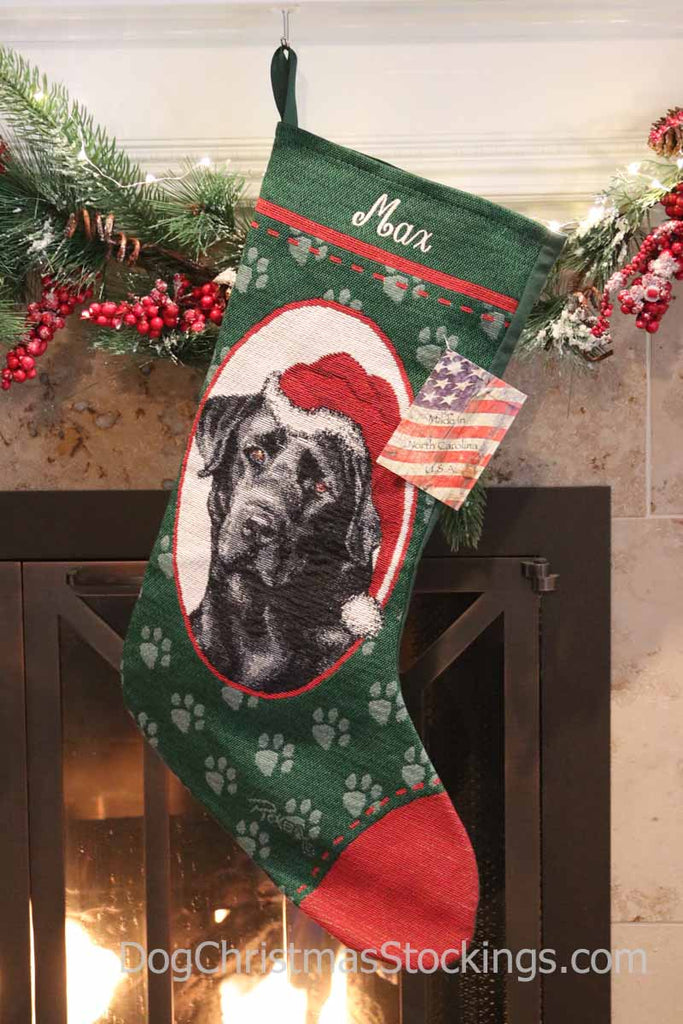 Personalized Christmas Stockings.Labrador Retriever Black Personalized Christmas Stocking