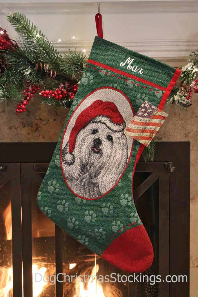 Maltese Personalized Christmas Stocking