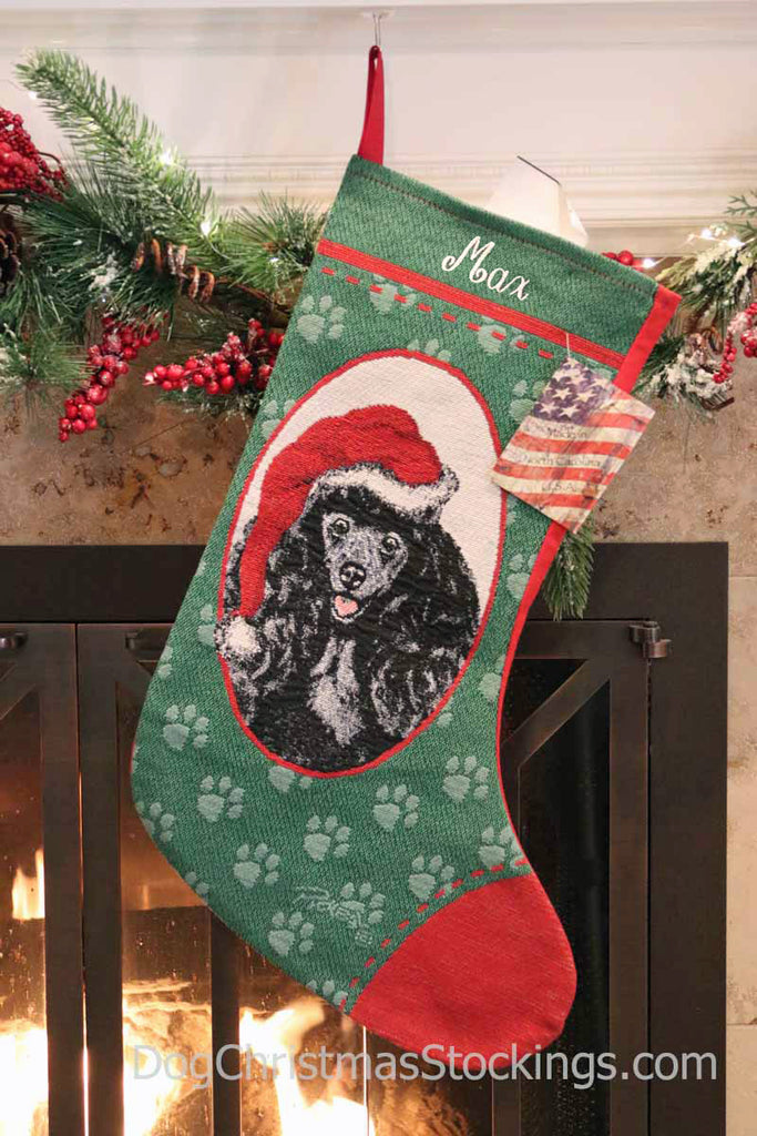 Poodle Black Personalized Christmas Stocking