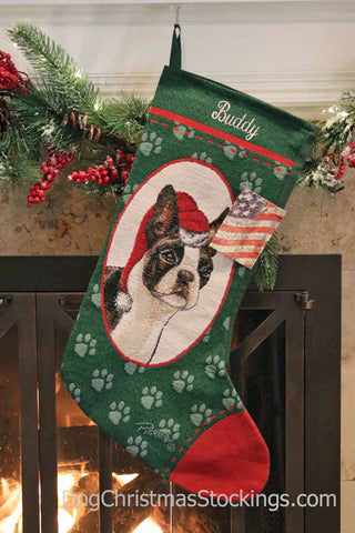 Boston Terrier Personalized Christmas Stocking