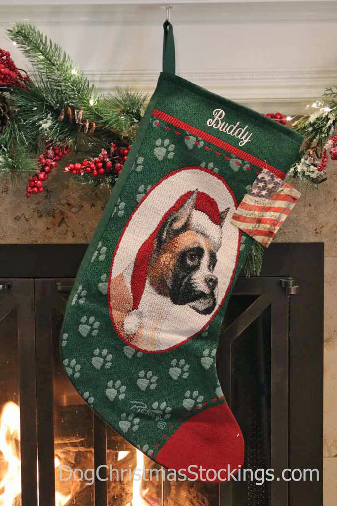 Christmas Stocking Personalized.Boxer Personalized Christmas Stocking