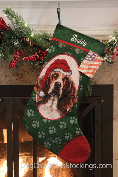 Basset Hound Personalized Christmas Stocking