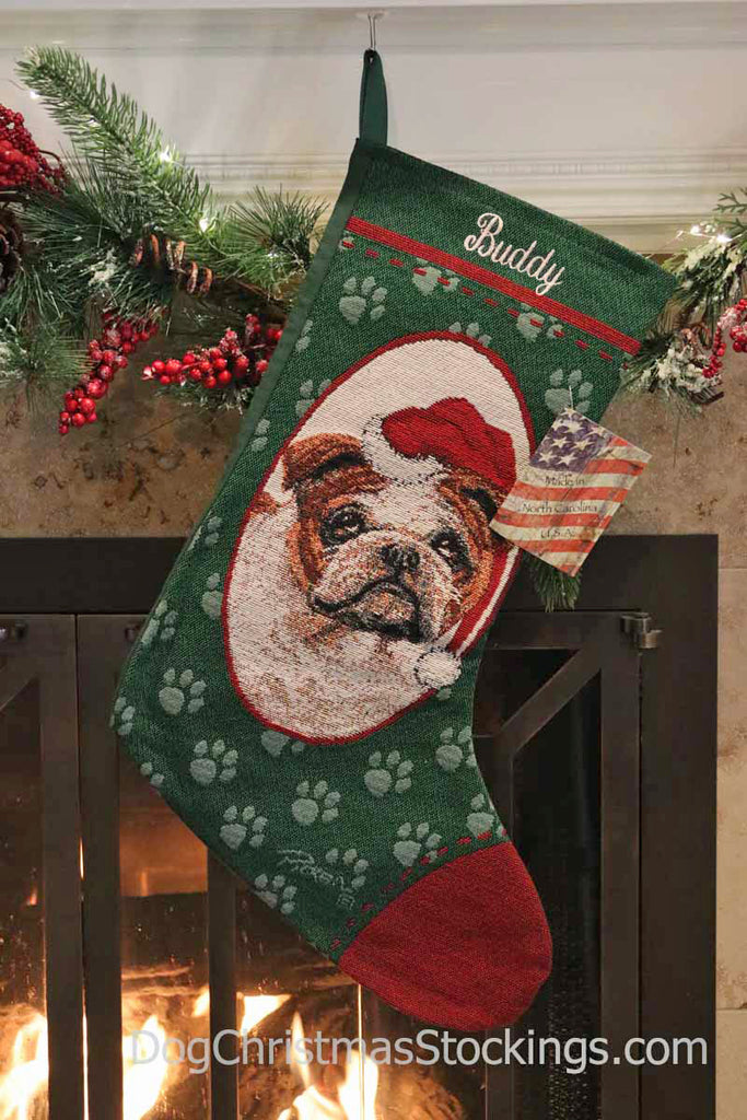 Christmas Stocking Personalized.Bulldog Personalized Christmas Stocking