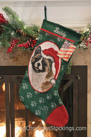 Akita Personalized Christmas Stocking