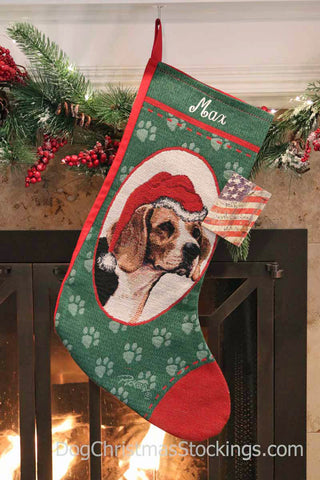 Beagle Personalized Christmas Stocking