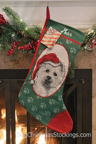 West Highland White Terrier Personalized Christmas Stocking