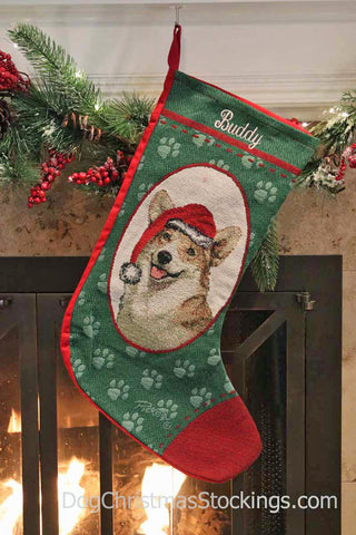 Welsh Corgi Personalized Christmas Stocking