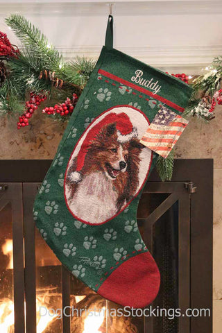 Shetland Sheepdog Personalized Christmas Stocking