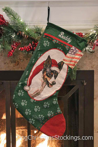 Rat Terrier Personalized Christmas Stocking