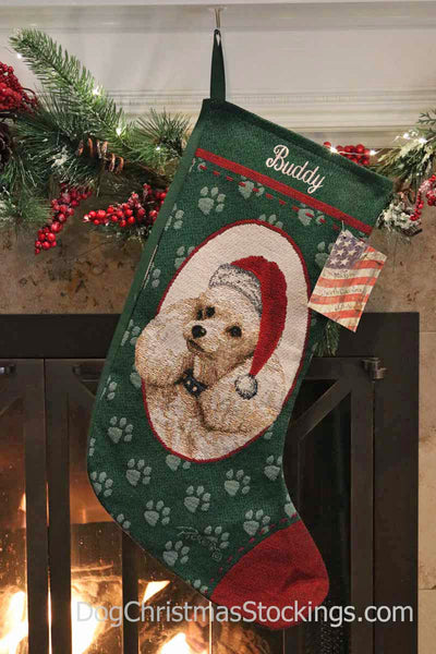 Poodle Personalized Christmas Stocking
