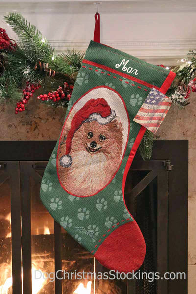 Pomeranian Personalized Christmas Stocking