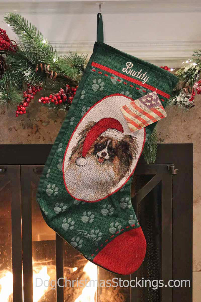 Papillon Personalized Christmas Stocking