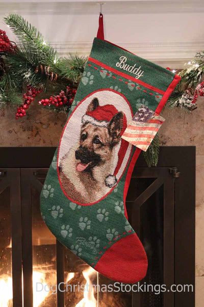 German Shepherd Personalized Christmas Stocking