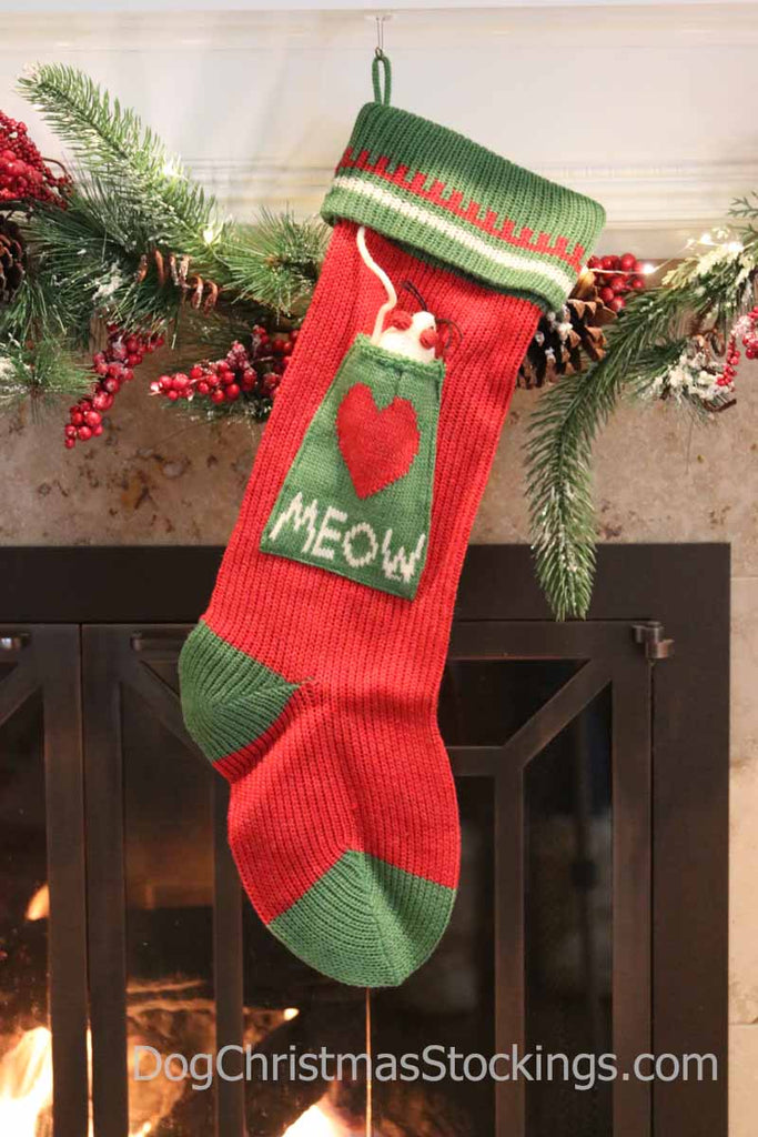 'Meow' Cat Personalized Knit Christmas Stocking