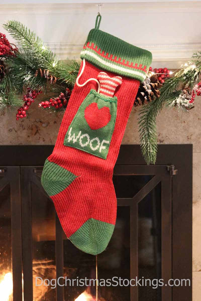 'Woof' Dog Personalized Knit Christmas Stocking